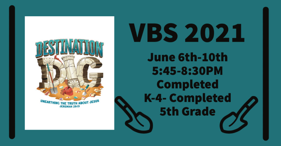 VBS 5:45-8:30PM